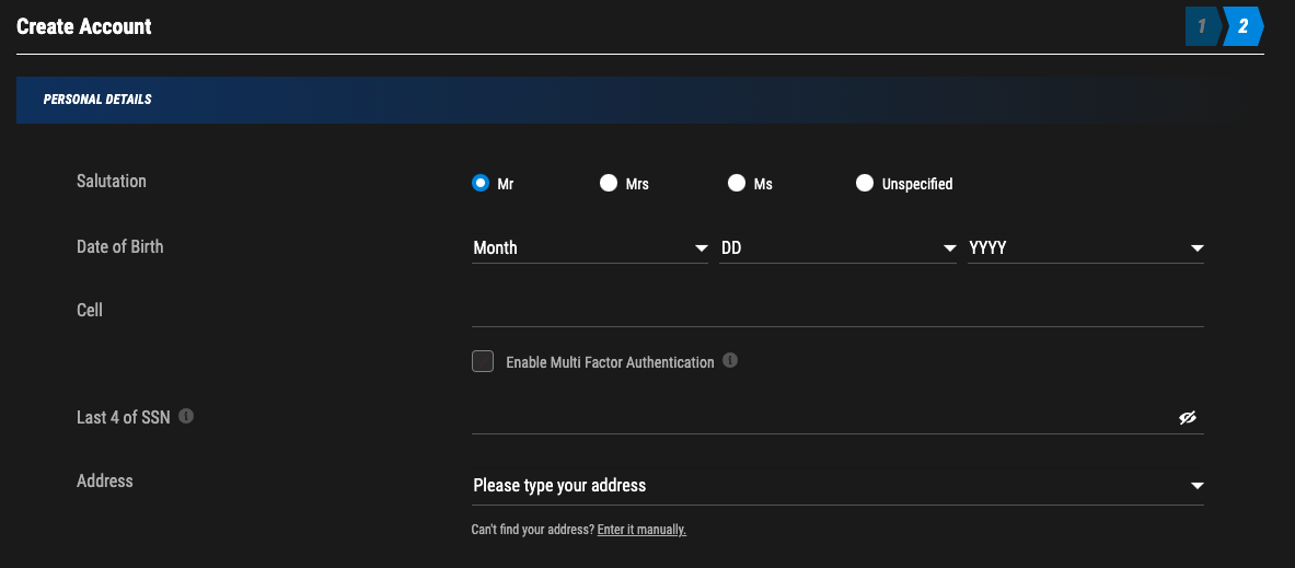 Part of the PointsBet registration process.